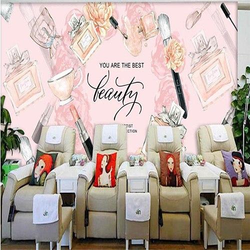 beibehang Custom large mural fashion salon beauty makeup shop decoration 3D studio background wallpaper Papel de parede