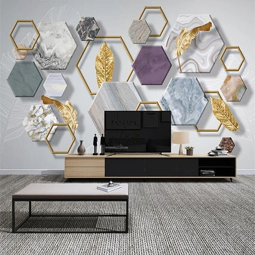 Custom 3d wallpaper photo murals Nordic minimalist stone geometry gold leaf TV background wall living room mural 3d wallpaper