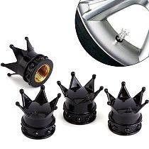 4 crown tire air valve caps black bicycle motorcycle car wheel
