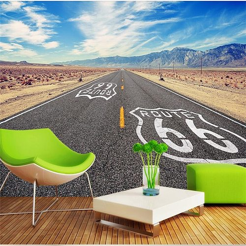 wellyu  papel de parede Custom wallpaper   Route 66 background wall background painting  photo wall mural papier peint