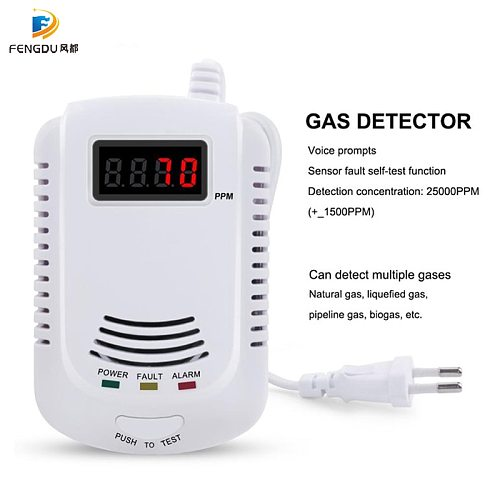 GAS DETECTOR Voice Warning Kitchen Alarm Kit Independent EU Plug in Combustible Natural LCD Display GAS LEAK SENSOR Alarm