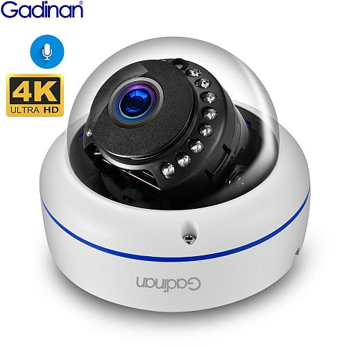 Gadinan 4K 8MP Dome POE IP Camera Built in Microphone Audio CCTV 5MP 3MP Home Security Camera Night vision IP66  H.265AI ONVIF
