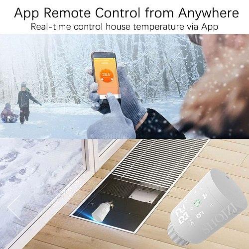 ZigBee Wifi Smart TRV Radiator Actuator Thermostatic Radiator Valve Tuya Temperature Controller Voice Remote Control Google Home