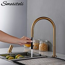 Smesiteli New Faucet Invisible Pull Out Sprayer Head Double Hole Single Handle Hot And Cold Solid Brass Kitchen Sink Mixer Tap
