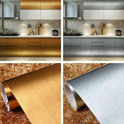 2/4m PVC Vinyl Stainless Steel Self adhesive Wallpaper for Kitchen Appliance Peel and Sticker Shelf Liner Adhesive Contact Paper