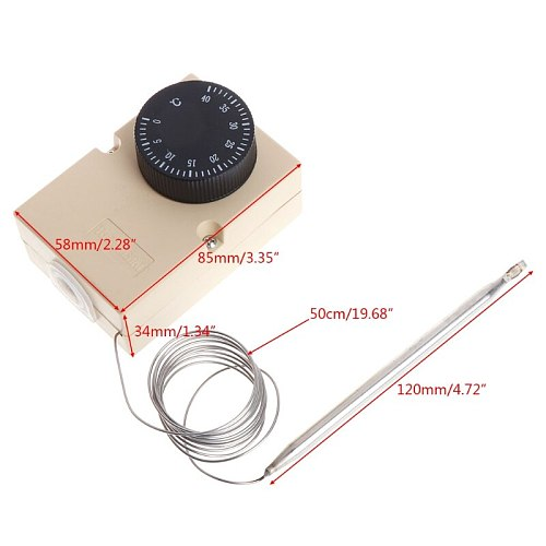 AC220V 0-40 Temperature Switch Capillary Thermostat Controller w waterproof box