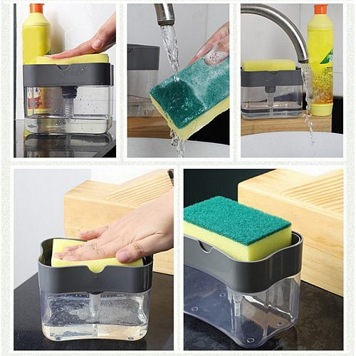 2-in-1 Soap Pump Dispenser With Sponge Holder Liquid Dispenser Container Hand Press Soap Organizer Kitchen Cleaner Tools hot