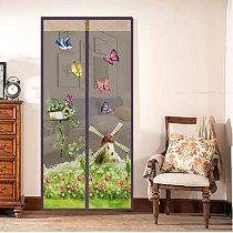 Summer Pattern Magnetic Button Mosquito Net Door Screen Bedroom kitchen Soft Yarn Door Curtain Anti Insect Fly Mesh door net