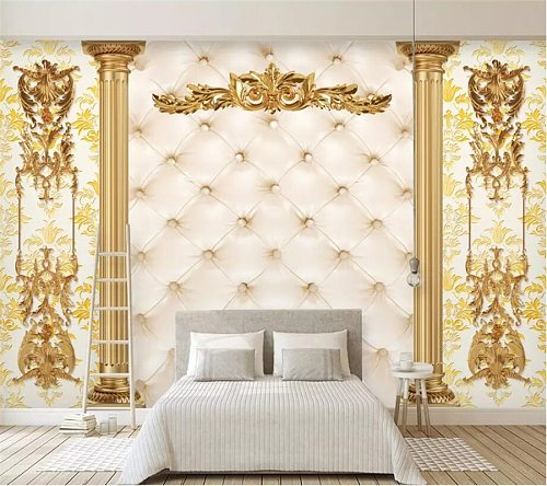 beibehang Custom large-size photo wallpaper 3d mural luxury gold European pattern soft bag living room TV background wall paper