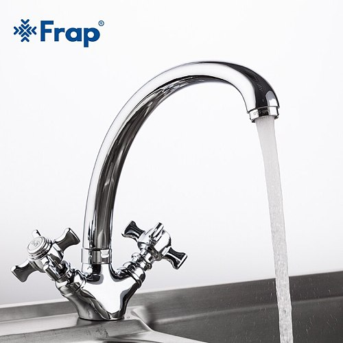 Frap 1 Set High Quality Zinc alloy Solid  Kitchen Faucet Double Handle Torneira Cold and Hot Water Mixer 360 Rotating F4224