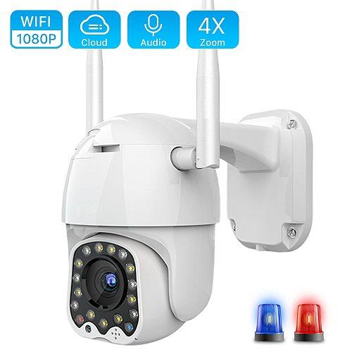 Cloud 1080P Wifi PTZ Camera Outdoor 2MP Auto Tracking CCTV Home Security IP Camera 4X Digital Zoom Speed Dome Camera Siren Light