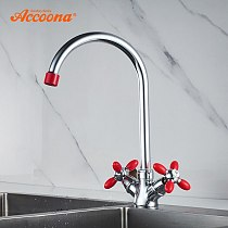 Accoona Kitchen Faucets Color Handle Nozzle Dual Handle Single Hole Brass Zinc Alloy Pipe Main Body Faucet for Kitchen A4582