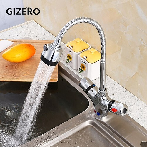 GIZERO Thermostatic Faucet Kitchen Pull Down Mixer Flexible Hot and Cold Temperature Control Deck Mounted Sink Faucet ZR986