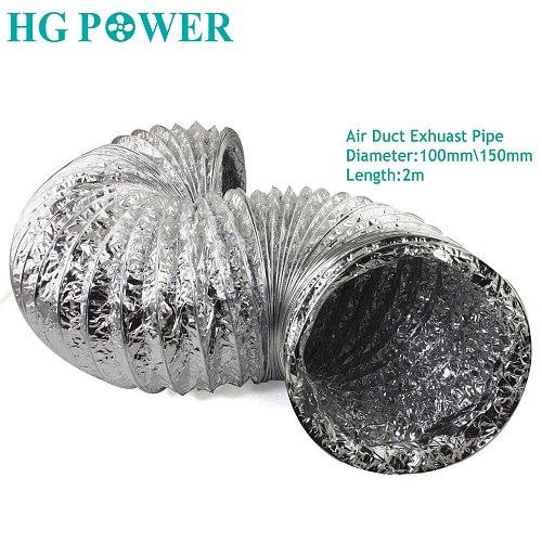 2m 4''6'' Ventilation Duct Fan Double Aluminum Recuperation Hose Foil Exhaust Inline Ventilator for Kitchen Toilet Air Purifier