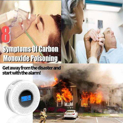 Combination Smoke and Carbon Monoxide Detector with Display, Battery Operated Smoke CO Alarm Detector