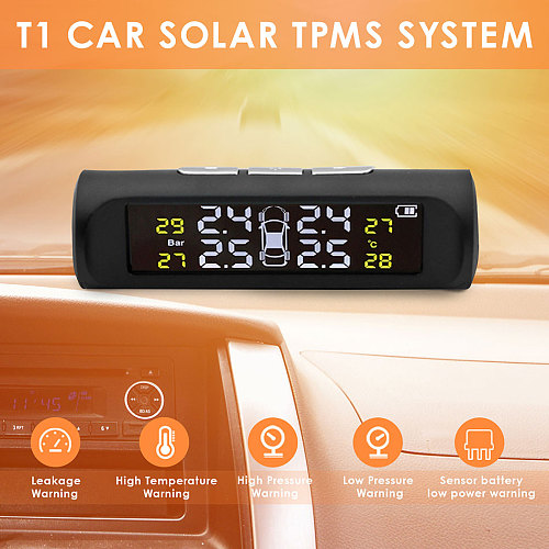2020 New Solar Power TPMS Car Tire Pressure Alarm Monitor System Auto Security Alarm Systems Tyre Pressure Temperature Warning