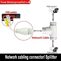 POE Splitter 2-in-1 network cabling connector three-way RJ45 connector head for security camera install