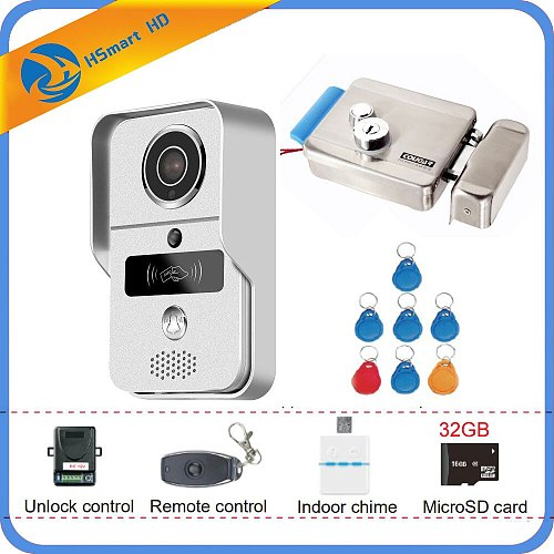 4G Wireless/WiFi Smart IP Video Door Phone Intercom System with Door Lock 32GB Card Doorbell Camera,Support Remote unlock