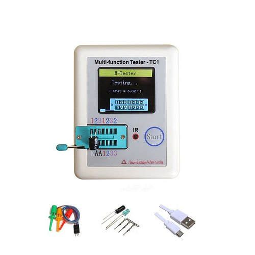 Multifunctional transistor tester LCR-TC1 Full color graphic display With battery TFT Diode Triode Capacitance Meter
