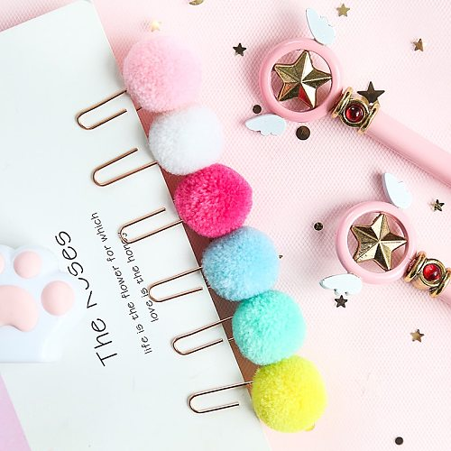 JIANWU 6pcs/set cute Hairball rose gold cilp modelling Paper clip Fashion business office lady style Office stationery set
