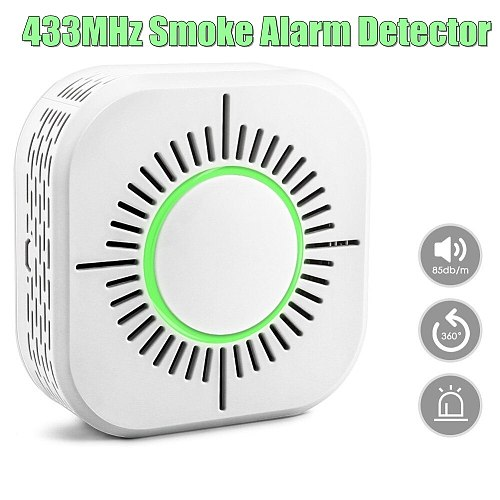 NEW 433MHz Wireless Smoke Detector Security Alarm Protection Smart Sensor for Home Automation Works with 433 RF Bridge