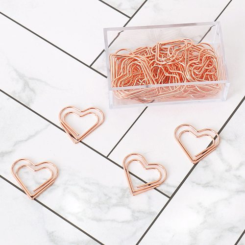 TUTU 30pcs/set heart Bookmark Metal Paper Clip Decor Rose Gold Colorfur Book Note Decoration Binder Clip Stationery H0405
