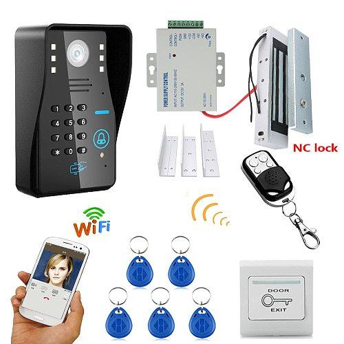 720P Wireless WIFI RFID Password Video Door Phone Doorbell Intercom System Night Vision + Electric Magnetic Door Lock 180KG