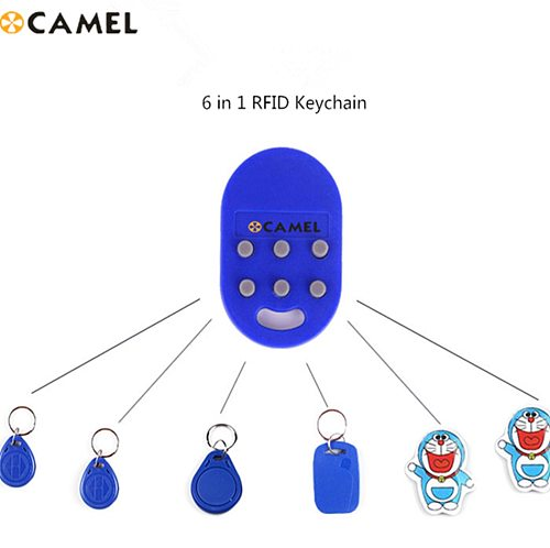 6 in 1 RFID Multiple Keyfob 125khz T5577 EM Writable IC 13.56Mhz M1k S50 UID changeable CUID Complex Keychain Tag Card