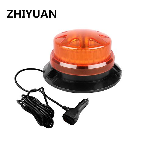 Rotating Emergency Strobe Light 9-28V Fire Truck Red Flashing Warning Lamp Magnetic Beacon Lights Indicator Signal Amber