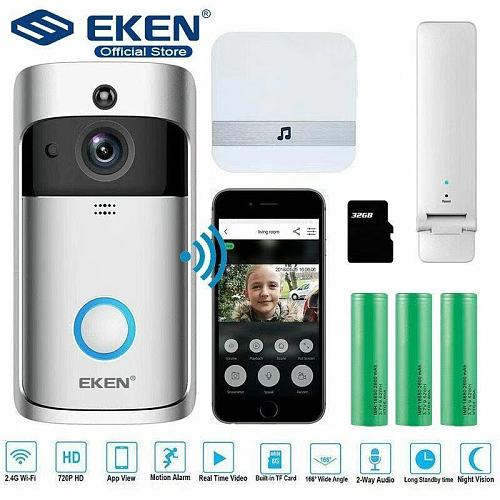 Original Official EKEN V5 Video Doorbell Smart Wireless WiFi Security Door Bell Visual Recording