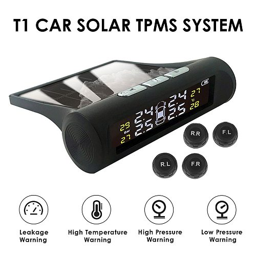 Solar TPMS Car Tire Pressure Alarm Monitor System 4 Wheel Internal External Tyre Sensor Temperature Alert USB Solar Charging