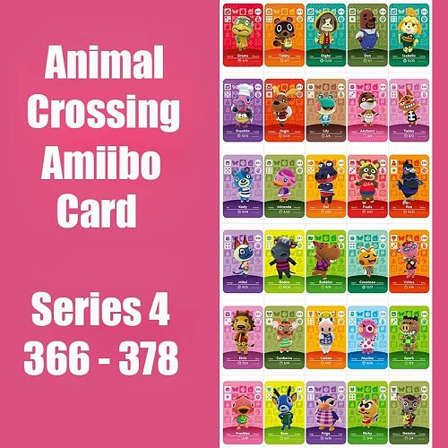 Series 4 (366 to 378) Animal Crossing Card Amiibo Cards locks nfc Card Work for Switch NS 3DS Games Animal Crossing Amiibo Card