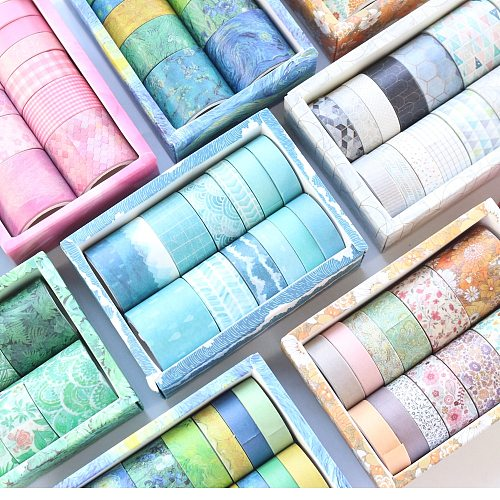 Domikee 12 Rolls classic decorative DIY washi tape set for journal planner diary fine scrapbooking craft masking tape stationery