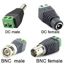 2/5/10pcs 12V DC BNC Male female Connector Coax CAT5 Video Balun Adapter Plug for Led Strip Lights CCTV Camera Accessories