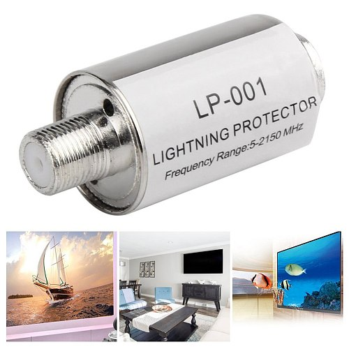 Lighting Arrester Coaxial Satellite TV Lightning Protectors Satellite Antenna Lightning Protection 5-2150mhz ACEHE Silver LP-001
