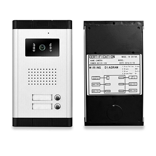 White Color Video Door Phone Intercom DoorBell Camera With 2 Control Buttons Outdoor Entrance Machine For Multi-Apartment