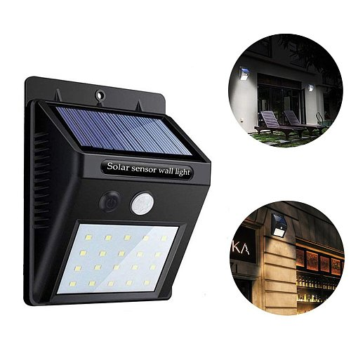 20 LED Solar Power Light PIR Motion Sensor Solar Garden Lights Outdoor Waterproof Energy Saving Wall Yard Lamps