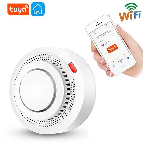 Tuya WiFi Smoke Alarm Smart Wireless Smoke Detector Fire Protection Smokehouse Combination Fire Alarm Home Security System