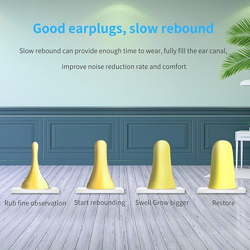 TISHRIC 30/60 pairs Sleeping Ear plugs Noise Cancelling 35.5db Soft Foam EarPlugs Anti-nois Sound Insulation Ear Protection
