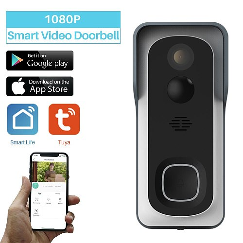 WiFi Smart Video Doorbell Tuya 1080P Home Security Monitor Night Vision Video Intercom Two way Audio SmartLife APP Control