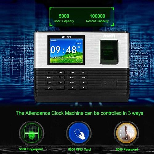 Realand 2.8inch TCP/IP/WIFI Biometric Fingerprint Attendance Machine RFID Employee Check-in System Time Clock Recorder Password