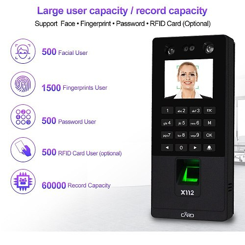 Biometric Facial Access Control Keypad System RFID Fingerprint Time Attendance Machine Support Face Password TCP/IP Network USB