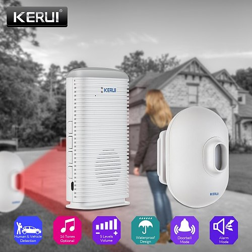 KERUI DW9 Waterproof PIR Motion Detector Driveway Alarm Garage Welcome Burglar Alarm System LED Wireless Driveway Security Alarm