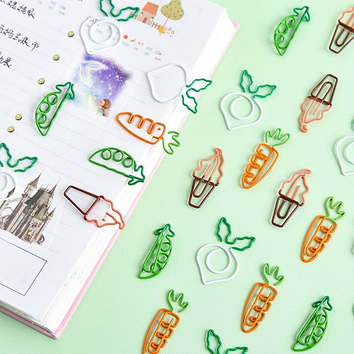 Mohamm 1 PC Mini Cartoon Cute Fruit Carrot Paper Note Metal Clip Decoration office stationery