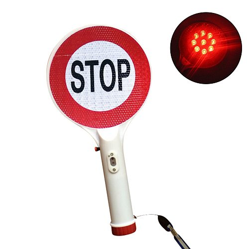Rechargeable Traffic Sign Handheld LED Stop Light Car Warning Sign Flashlight For Traffic Control Blocked Road Free Shipping
