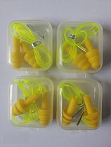 4pieces box-packed comfort earplugs noise reduction silicone Soft Ear Plugs PVC rope Earplugs Protective for Swimming for sleep