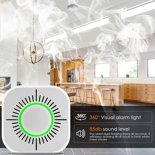 433MHz Smoke Detector Wireless smoke fire alarm sensor protection for home security alarm system work with 433.92 RF bridge