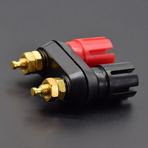 ANPWOO Plugs Couple Terminals Dual 4mm Banana Plug Jack Socket Double hexagon Binding Post Red Black Connector Amplifier DX25
