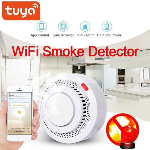 Tuya wifi Smoke Detector Smokehouse Combination Fire Alarm Home Security System Firefighters WiFi Smoke Alarm Fire Protection