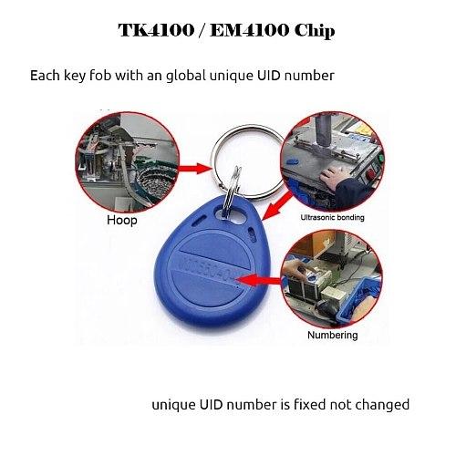 10pcs Read Only RFID 125 khz EM4100 Key Tag Keyfobs Ring Chip Keytab TK4100 Tags 125khz